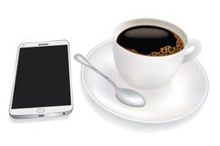 Xícara de café e telefone celular Fotografia de Stock