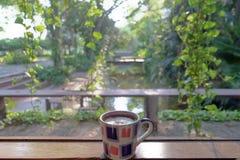 Xícara de café e vista natural bonita Fotos de Stock Royalty Free