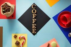 Xícara de café em colorido abstrato Imagem de Stock