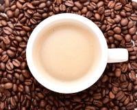 Xícara de café em um fundo da opinião superior de feijões de café imagem de stock
