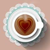 Xícara de café em um guardanapo de papel Foto de Stock Royalty Free