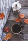 A xícara de café, lenço feito malha acolhedor, sae na placa de madeira Do outono vida ainda Imagem tonificada, estilo do vintage Imagens de Stock