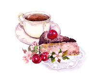 Xícara de café ou chá, bolo de chocolate com frutos da cereja e flores watercolor ilustração do vetor