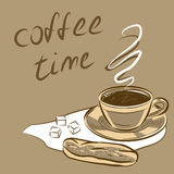 Xícara de café para o menu Ilustração do vetor Fotografia de Stock