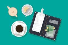Xícara de café, pedaço de bolo na placa, desnatadeira e suporte de conta aberto com verificação do restaurante, cédulas do dinhei ilustração do vetor