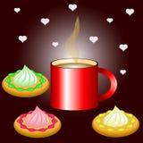Xícara de café quente com cookies deliciosas ilustração stock