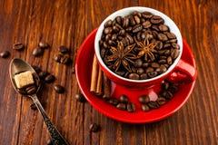 Xícara de café vermelha com feijões de café, cubos do açúcar e anis de estrela Imagem de Stock Royalty Free