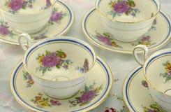 Xícaras de chá finas de China de osso Foto de Stock Royalty Free