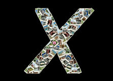 x信函-旅行照片拼贴画  库存图片