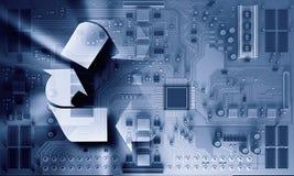 x的董事会电路关闭作用电子光芒 混合画法 免版税库存照片