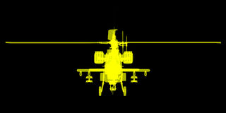 X- εικόνα ακτίνων ή ακτίνας X του ελικοπτέρου Apache Στοκ Εικόνα