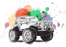 4x4 иллюстрация вектора Grunge жипа SUV Стоковое Изображение RF