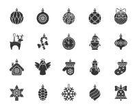 X комплект вектора значков силуэта украшений дерева Mas черный бесплатная иллюстрация