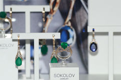 X международная выставка украшений и вахты клеймит украшения с драгоценными камнями роскошными Стоковые Фото