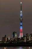' 光和darkness&#x22争斗;东京Skytree点灯和东京铁塔 库存照片