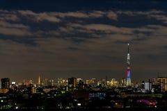 ' 光和darkness&#x22争斗;东京Skytree和东京铁塔点灯  库存图片