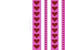 8 5 x 11可印的可折叠的心脏条纹设计情人节卡片背景例证 向量例证