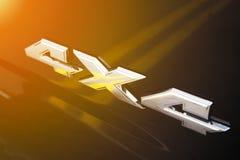 4x4在车身的镀铬物标志 库存图片