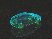 X-射线有绿色轮子的概念汽车 库存照片