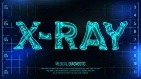 X-射线横幅传染媒介 背景图表眼睛医疗验光师 与骨头的透明伦X-射线文本 放射学3D扫描 医疗健康 向量例证