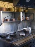 从19& x27的大厨房铁火炉; Th世纪 免版税库存照片