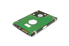 2 5& x22;英寸在白色背景隔绝的硬盘驱动器存贮 图库摄影