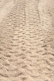 4x4轮胎轨道特写镜头在沙漠 库存照片
