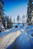 4x4,驾驶在多雪的地形的suv 库存图片