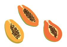 Ripe papaya on white background stock illustration