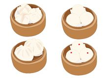 Steamed stuff bun,dim sum in bamboo steamer and chinese cuisine on white background vector illustration