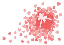 Heart pink design and gifl box design vector illustration
