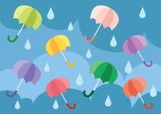 Umbrella floating in the sky stock illustration