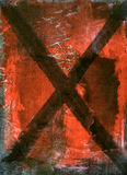 X. Mix media painting of an X on a red textural background Stock Photo