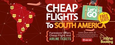 便宜的飞行到南美1500x600横幅 库存图片