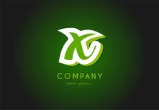 X alphabet letter logo green 3d company vector icon design. X alphabet letter hand written hand writing green white logo 3d vector creative company icon design royalty free illustration