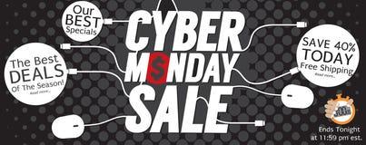 8000x3176 Banner van Dot Cyber Monday Super Wide van de pixel de Moderne Zwarte Polka stock illustratie