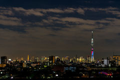 Battle of light and darkness light-up of Tokyo Skytree and Tokyo Tower Stock Images