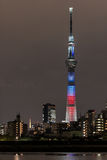 Battle of light and darkness light-up of Tokyo Skytree with Tokyo Tower Stock Photos