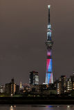 Battle of light and darkness light-up of Tokyo Skytree with Tokyo Tower Stock Photography
