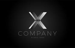 X black white silver letter logo design icon alphabet 3d Stock Photography