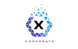 X Blue Hexagon Letter Logo with Triangles. X Blue Hexagon Letter Logo Design with Blue Mosaic Triangles Pattern stock illustration