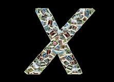 X bokstav - collage av loppfoto Arkivbilder