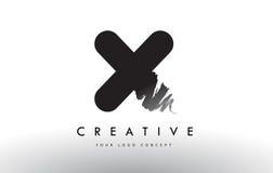 X Brushed Letter Logo. Black Brush Letters design with Brush str Stock Photography