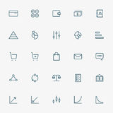 5x5 business and graph line icons Stock Images