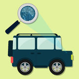 4x4 car, magnifying glass and electronics. Magnifying glass enlarging electronic circuit of 4x4 car. Concept vector illustration
