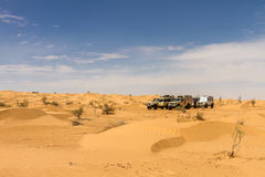 4x4 cars at the desert. 4x4 all terrain cars at the Tunisian desert Royalty Free Stock Image