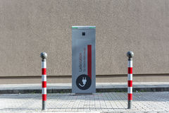 & x22;Charging station for electric cars& x22; written in German in the st Stock Images
