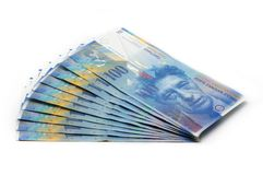 10x 100 CHF-Kaartjes - 1000 CHF Stock Foto's