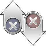 X or close icon on up and down arrows. Up and down arrow buttons with x or close icon to indicate state, rate, or status Stock Photo