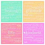 4 x 10cm Square Healing Words Water Drinks Coasters. Four different coaster mat designs green healing, peach gratitude, red love and pink kindness each with vector illustration